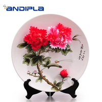 Wedding Gift Souvenir Art Decor Plate Ceramic Porcelain 3D Flower Round Dish with Shelf Kit Gift Box Kit / Home Ornaments Crafts