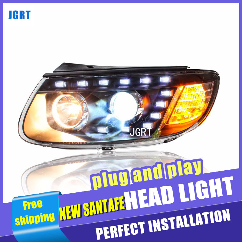 Car Styling for Hyundai New SantaFe Headlights 2012 Santa Fe LED DRL Lens Double Beam H7 HID Xenon bi xenon lens