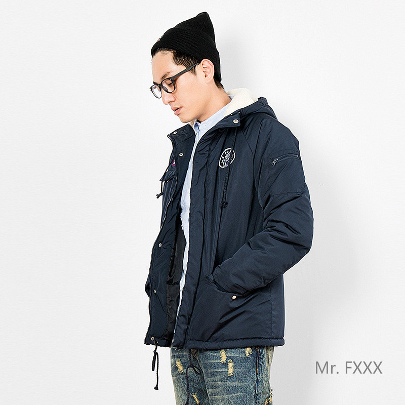 ФОТО 2016 Winter Japanese streetwear men's hooded clothes trendy design warm thick navy blue long sleeve parkas coat for men