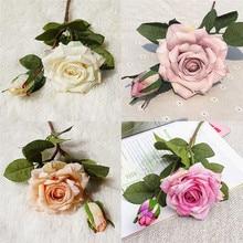 2 головки шелковые романтические искусственные розы поддельные цветы невесты держа поддельные цветы букет для домашнего стола сада Свадебные украшения