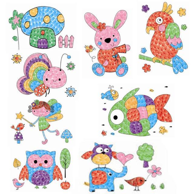 DIY 8 piezas dibujos animados niño dedo pintura Craft Set niños ...