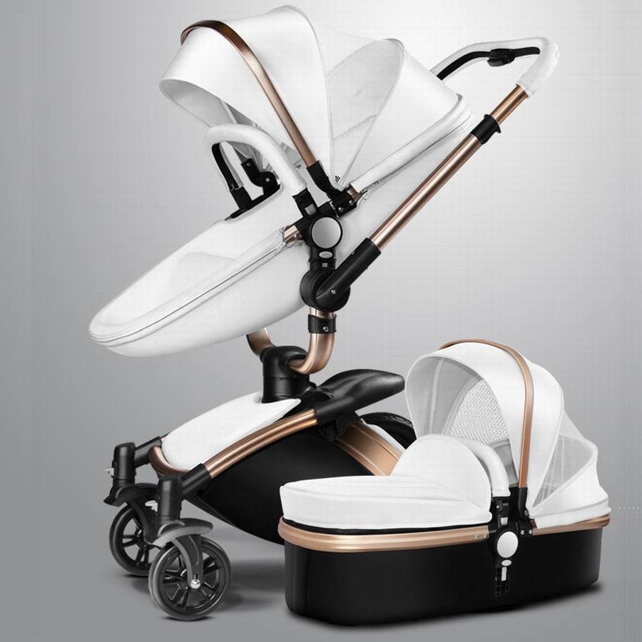 New Fashion Pram Stroller For Baby Stroller Leather Two Way Bb Car Trolley Bassinet Four Wheel