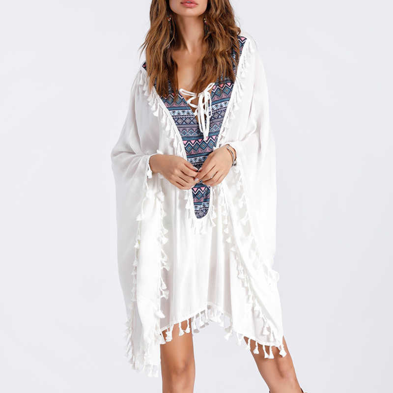 8d260915fa5 Detail Feedback Questions about Boho style white summer dress beach Tassel  dress V neck fringed full print Empire dress outfit fashion women loose  dress ...