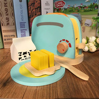 Wooded Breakfast Child Sandwich Bread Development Kitchen Cooking Toy For Baby Pretend Play Kitchen Toaster Toys