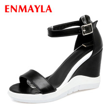 ENMAYLA Cool Women Summer Wedges Sandals Black White Mixed Color High Heels Shoes Woman Open Toe Platform Strappy