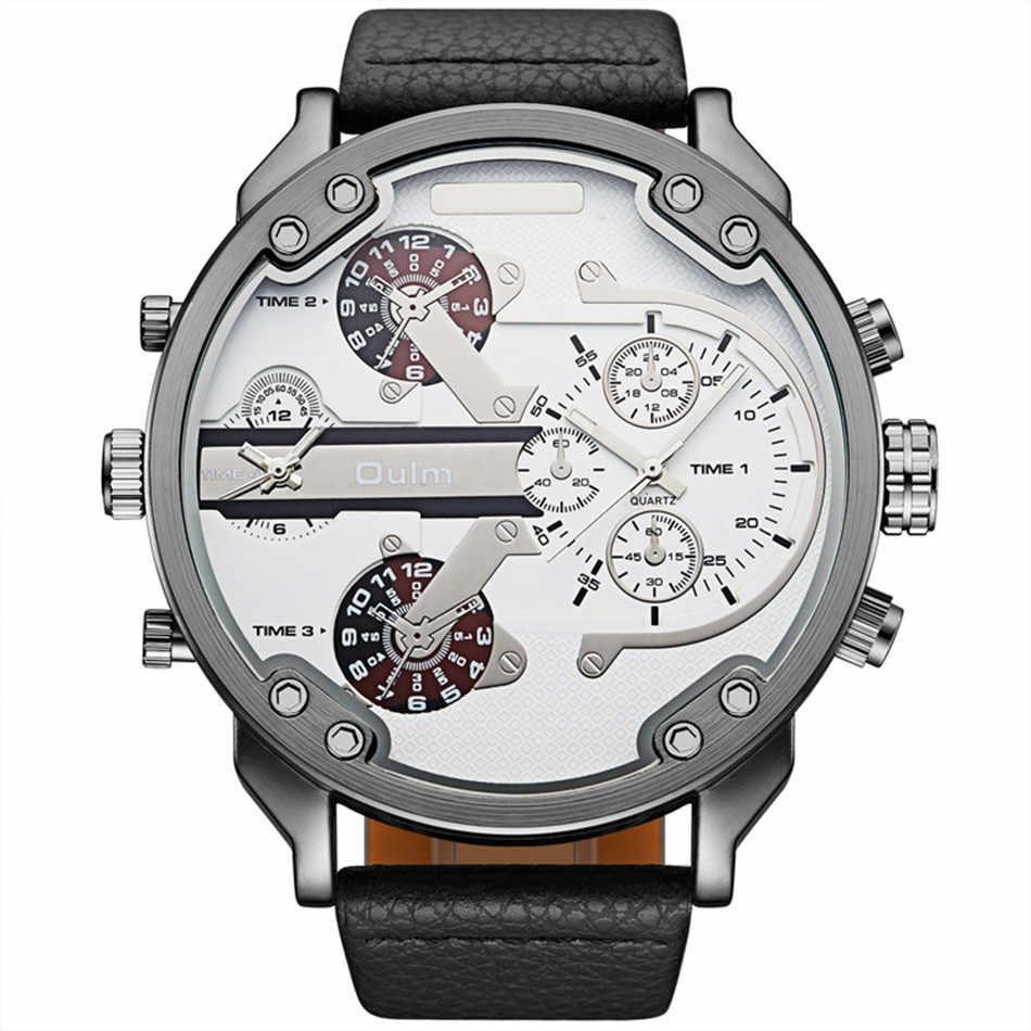 Relojes Hombre 2018 ผู้ชายหรูหรากองทัพทหารนาฬิกาแบบ Dual นาฬิกาข้อมือควอตซ์ขนาดใหญ่นาฬิกาข้อมือ Oulm นาฬิกาสำหรับ Camping Field tickers