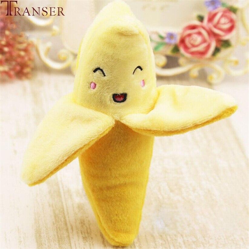 Transer Pet Supply 1pc Plush Banana Shape Dog Squeak Sound Toys Fruit Interactive Cat Dog Toy 80406