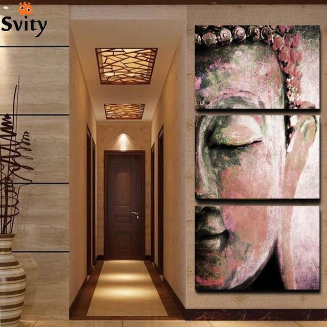 No Frame 3pcs Abstract Buddha Wall Art Paintings Home Decor For Living Room Oil Painting Picture