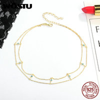WOSTU Luxury 925 Sterling Silver Gold Blue CZ Double Layer Chocker Pendant Necklaces For Women Sterling
