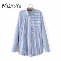MLIYOYA Women EURO Style Striped Patchwork Shirts 2017 Autumn New Long Sleeve Long Style Blouses Ladies