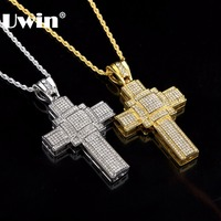 Hip Hip Classic Charm Large Cross Full Iced Out Bling Bling Rhinestones Pendant Fashion Vintage Jewelry