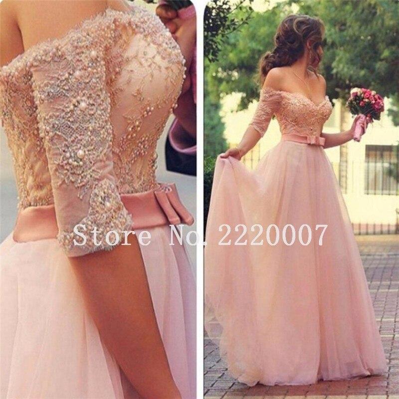 De Encaje de color rosa vestidos de dama de Honor del hombro ...
