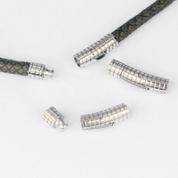 1set Antique Silver Striped Groove Cylindrical Shape Clasp Hook Fit 6mm Round Leather Cord Bracelet Making