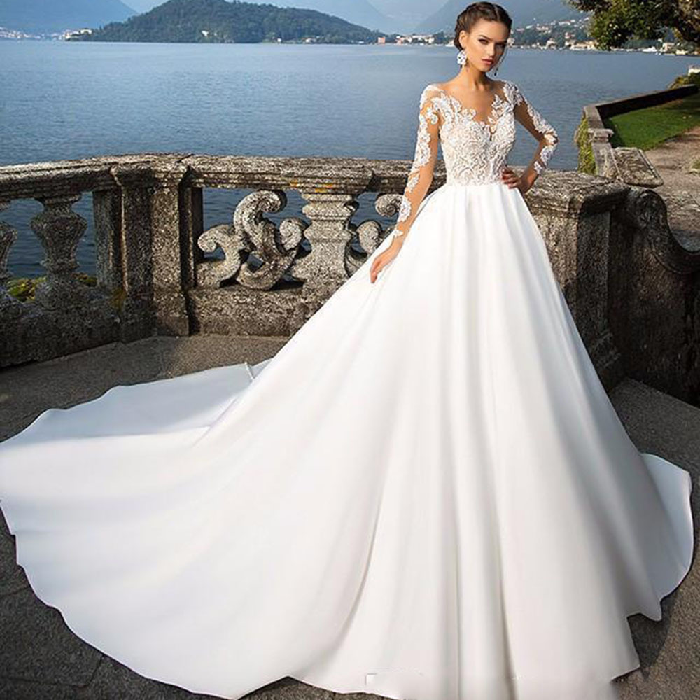 Vivian's Bridal Button Illusion Back Satin Train Wedding Dress Long Sleeve V Neck Floor-length Customized Appliques Bridal Dress