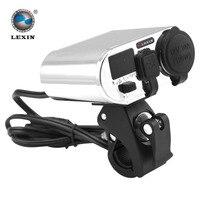 Wholesale 3 In 1 Waterproof Motorcycle Handbar Power Station Cigarette Lighter Dual USB Charger Voltage Meter