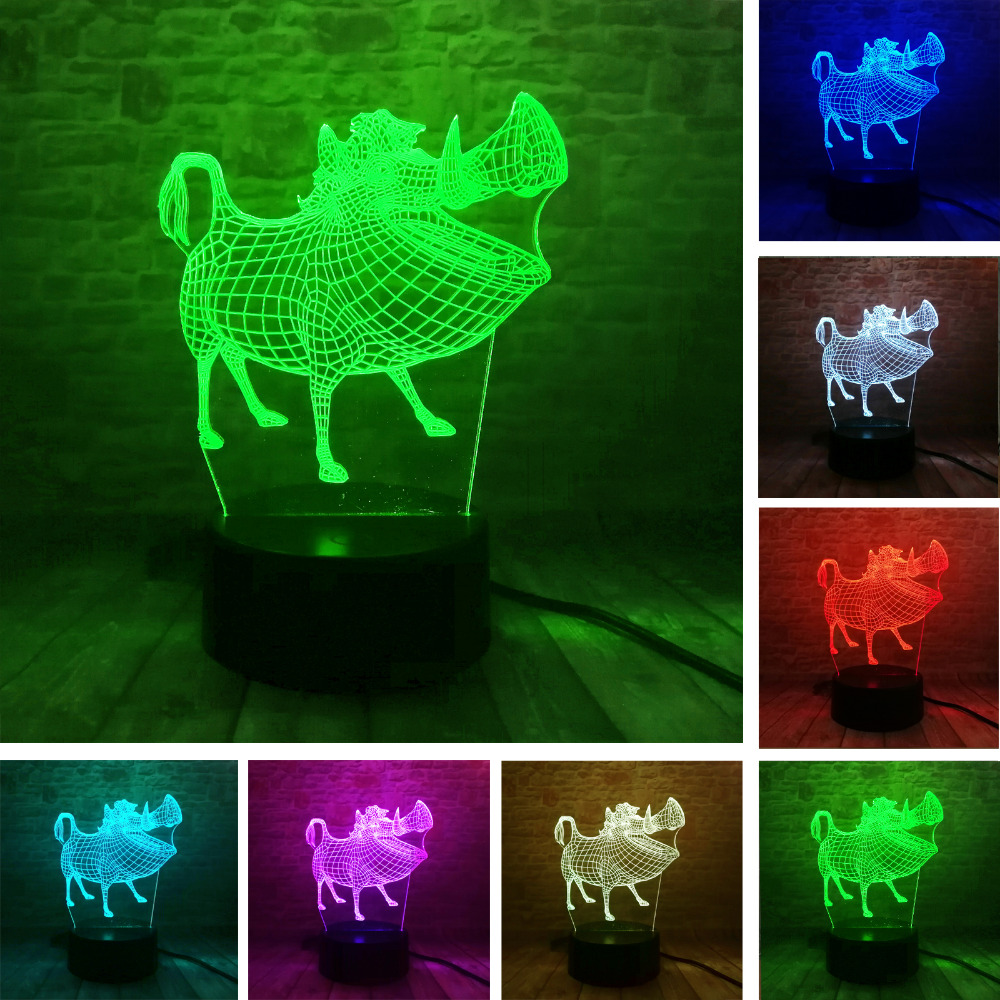 Anime 2018 Forest Wild Boar 7 Color Gradient 3D Visual Led Night Lights Child Kids Baby Sleeping Bedside Lamp Decor Xmas Gifts