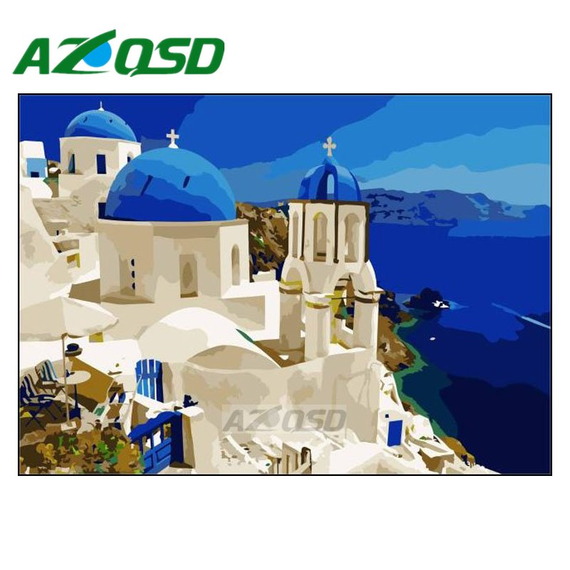 AZQSD Painting By Numbers Frameless 40x50cm Seaside White House Oil Painting Picture By numbers On Canvas Home Decor szyh166