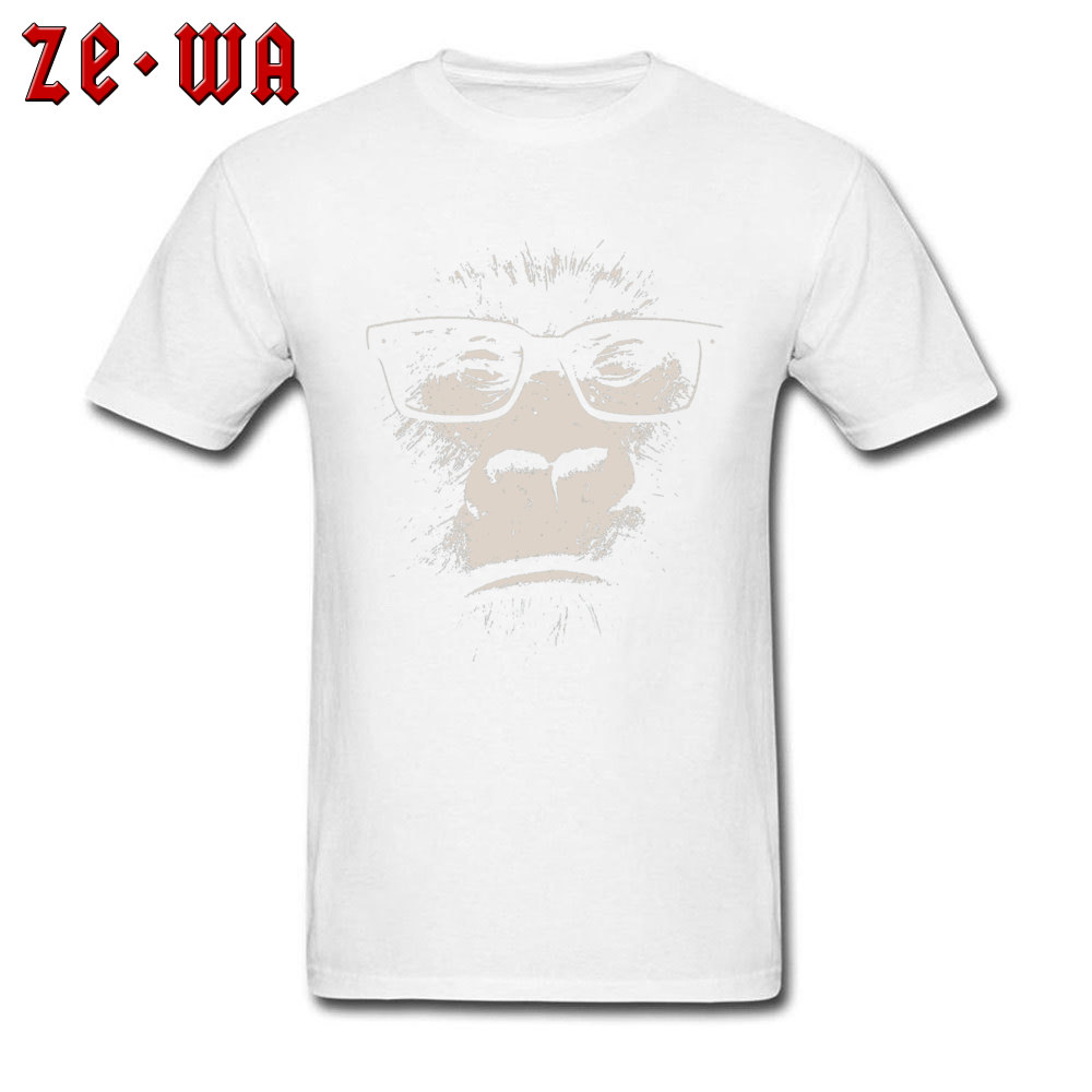 Hipster Gorilla With Glasses 18635 100% Cotton Tees for Men Street T Shirts Fashionable Rife Crew Neck Tees Short Sleeve Hipster Gorilla With Glasses 18635 white