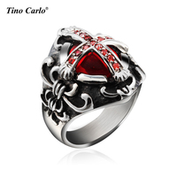 Vintage Men S Ring Cross Red Color CZ Stone Retro Men Punk Jewelry Stainless Steel Metal