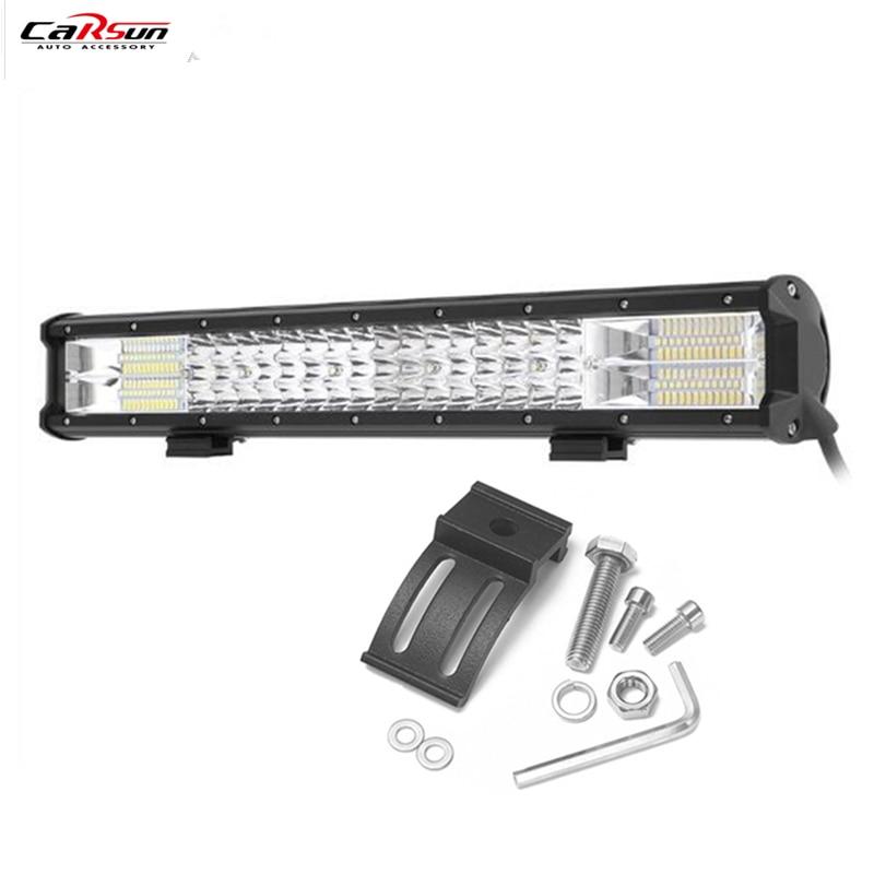 CARSUN 20 Inch Three Rows 288W LED Light Bar For Work Driving Boat Car Truck 4x4 SUV ATV Off Road Fog Lamp Super Brightness