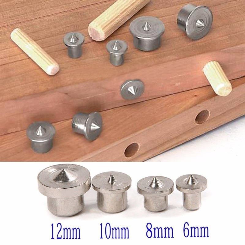 8pcs Solid Dowel Pins Center Point Set 6/8/10/12mm Woodworking Dowel Tenon Center Set For Woodworking Tool Power Accessories