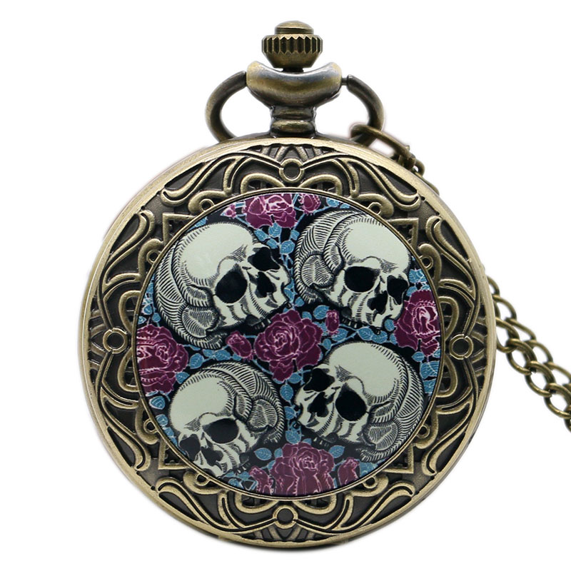 Hot Sale Free Shipping Retro Four Skull Heads & Rose Pocket Watch With Necklace Chain Best Gift retro bronze doctor who design pocket watch with chain necklace free shipping best xmas chritmas gift