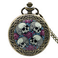 Hot Sale Free Shipping Retro Four Skull Heads & Rose Pocket Watch With Necklace Chain Best Gift