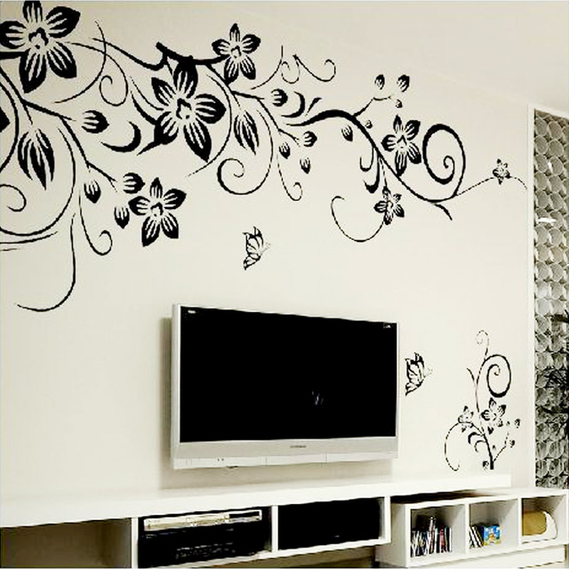 US $3.48 15% OFF|% Butterfly Flower vine bathroom vinyl wall stickers home  decoration bedroom living room wall decals toilet sticker 3D Wallpaper-in  ...