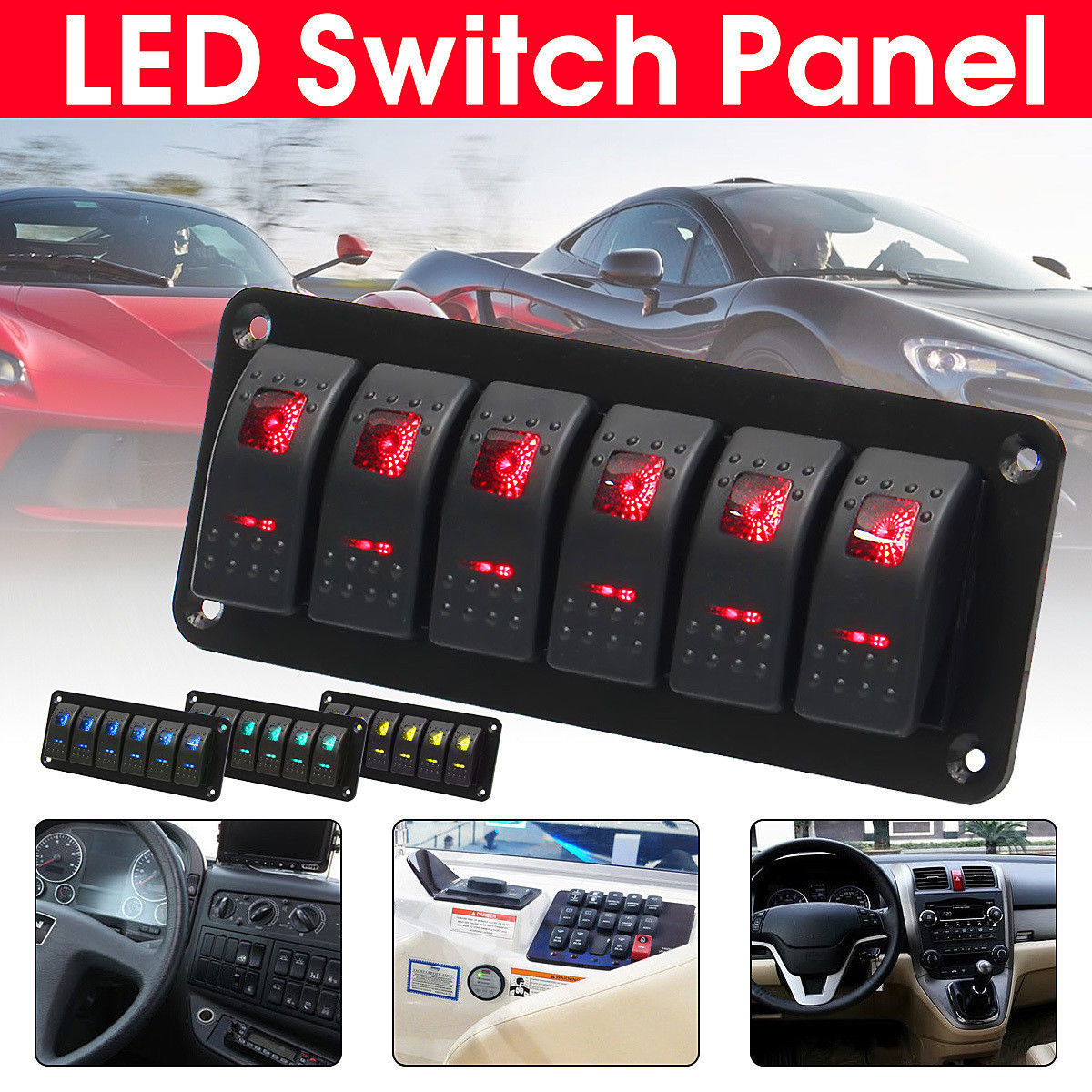 6 Gang Rocker Switch Panel with Red LED Light Circuit Breaker for Boat/car high quality waterproof ABS&PC&Aluminum 12V-24V Black6 Gang Rocker Switch Panel with Red LED Light Circuit Breaker for Boat/car high quality waterproof ABS&PC&Aluminum 12V-24V Black