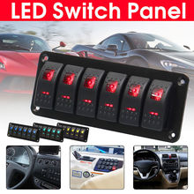 6 Gang Rocker Switch Panel with Red LED Light Circuit Breaker for Boat/car high quality waterproof ABS&PC&Aluminum 12V-24V Black
