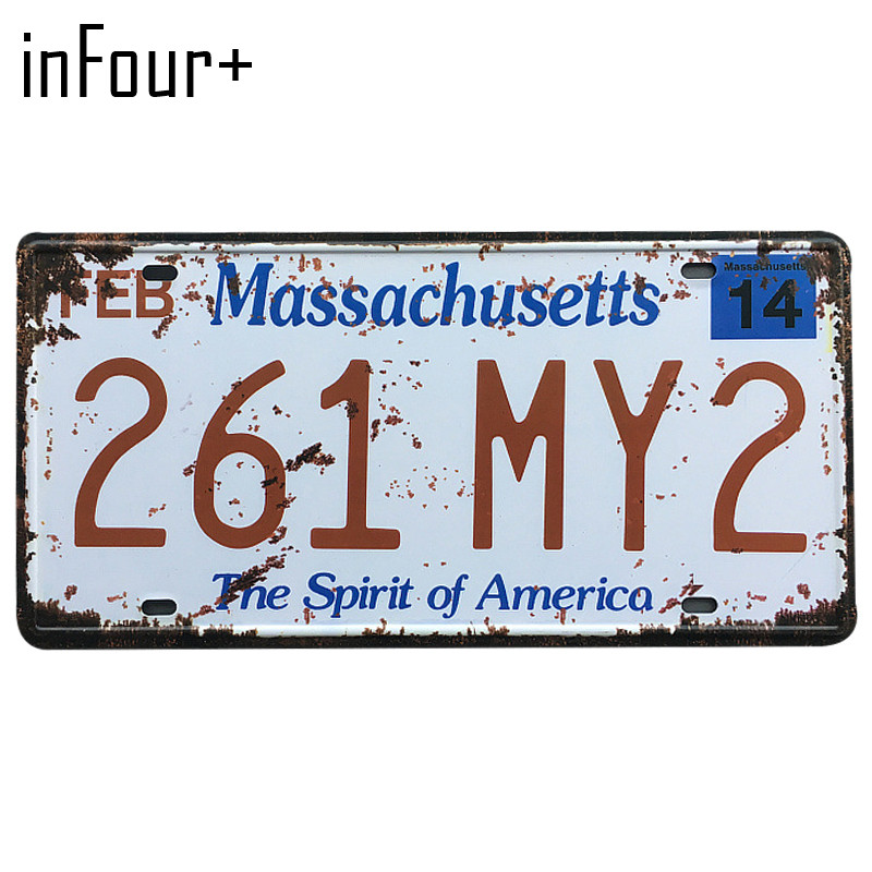 [inFour+] 261-MY2 License Plate Metal Plate Car Number Tin Sign Bar Pub Cafe Home Decor Metal Sign Garage Painting Plaques Signs