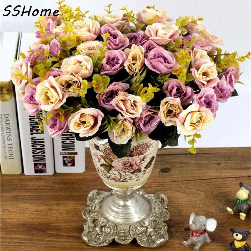 Violet rose bunch 21 têtes fleurs artificielles parti vase display décoration mariage