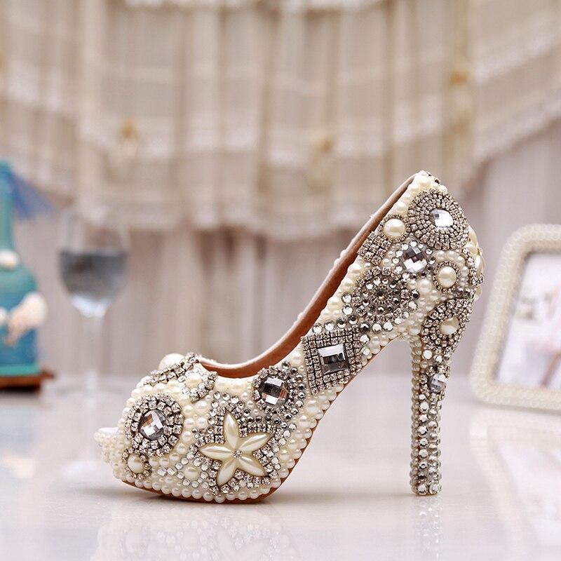 Unique Vestido Mujer Perla Baile Heels Nupcial Toe Marfil Partido Boda Del Peep La De white Zapatos Ivory Impermeables 12cm Alto Heels Rhinestone Tacón rFrqZY