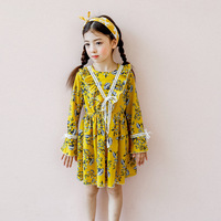 Everweekend Girls Floral Print Chiffon Ruffles Party Dress Long Sleeve Orange Color Bell Sleeve Cute Autumn Dress