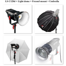 Aputure 4 pçs/set LS C120d + Fresnel montagem + Cúpula + Guarda-chuva Do DIODO EMISSOR de Luz Kit de Luz de Estúdio de Vídeo luz LED luz com V-placa de montagem