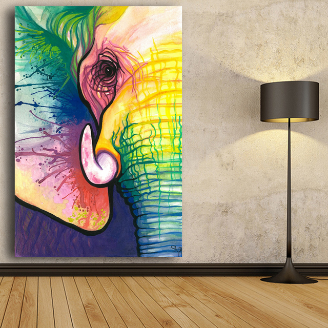 RELIABLI Canvas Art Decorative Painting Elephant Art Print Poster Wall Animal Frameless Picture For Living Room Home Decor 4