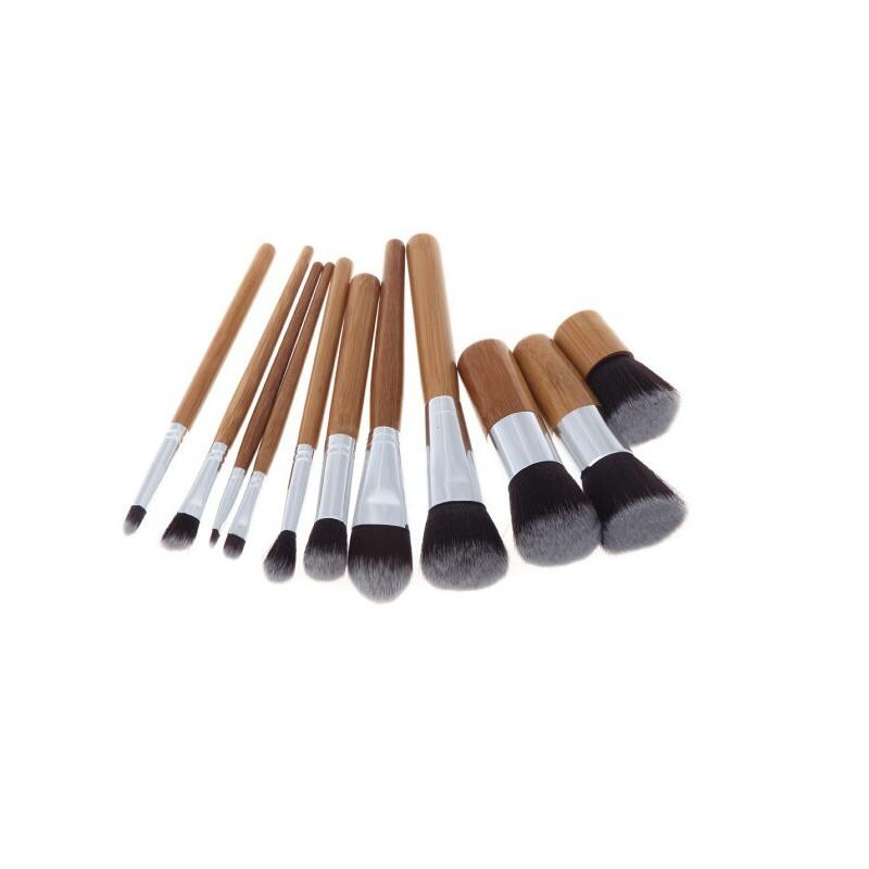 11Pcs Makeup Brushes Set Professional Cosmetics Tools Natural Bamboo Handle Eyeshadow Make Up Brush Blush Soft Brushes Kit + Bag 2017 pro 1 pcs bamboo handle eye brushes makeup flat brushes cosmetics professional makeup brush set hairbrush ap253