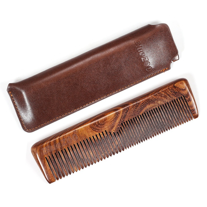 Beard Comb For Men Natural Wooden Beard Hair Comb Sandalwood Comb For Grooming Combing Hair Beards With PU Bag