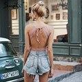 Simplee Sexy backless lace bodysuit overalls Elegant bandage women bodysuit Soft knitted winter <font><b>jumpsuit</b></font> romper women playsuit