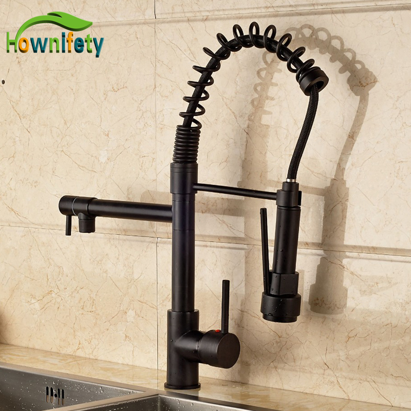 Luxury High Quality Solid Brass Oil Rubbed Bronze Kitchen Sink Faucet Single Lever Swivel Spout Pull Down Spout free shipping high quality chrome brass kitchen faucet single handle sink mixer tap pull put sprayer swivel spout faucet