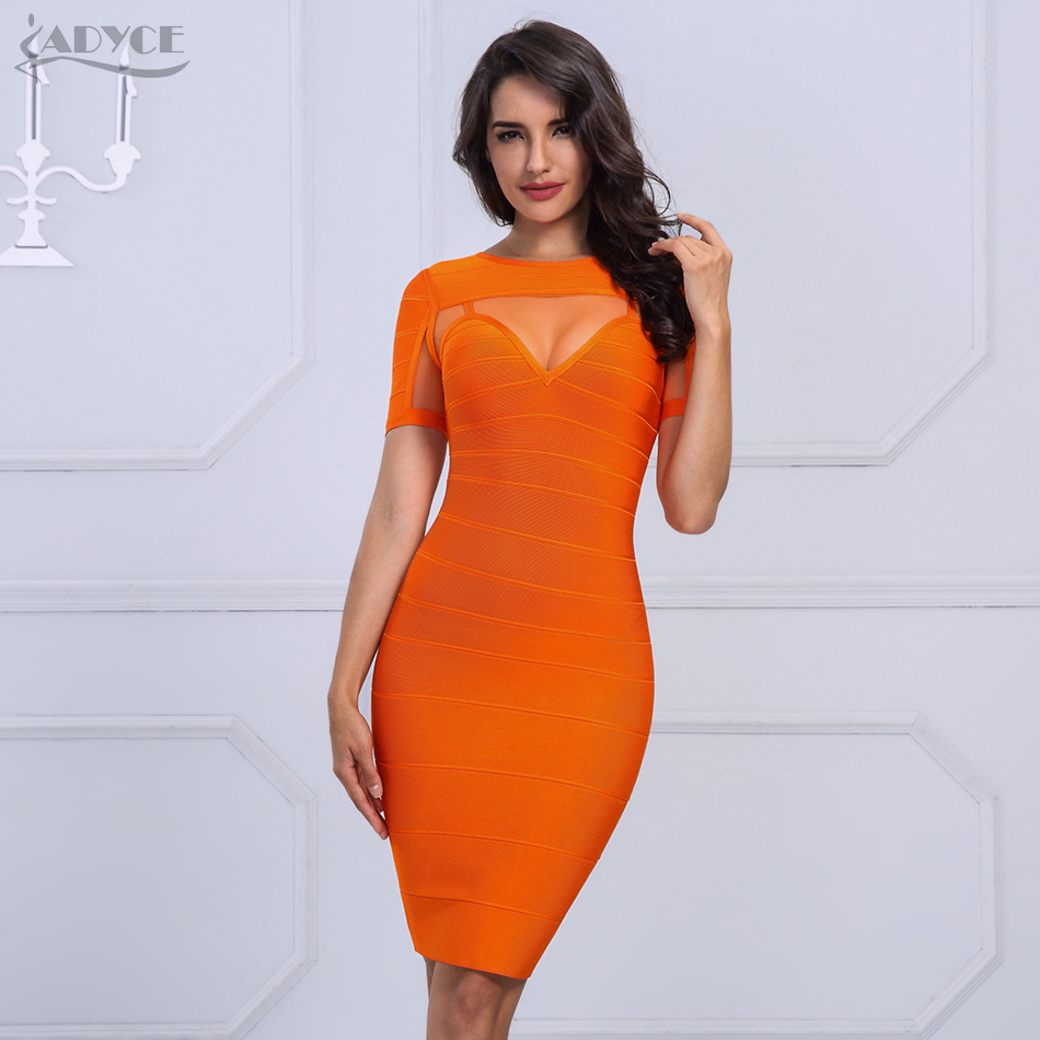 ADYCE 2019 Chic New Brand Autumn Woman Bandage Dress Sexy Short Sleeve Mesh Celebrity Evening Party