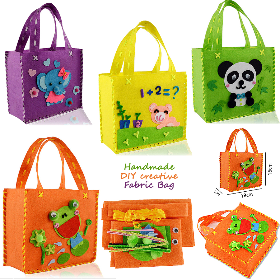 Funny Handmade Handbags DIY Non-woven Fabric Cloth Sewing Project Pattern Bags Kit Kids Art & Crafts Educational Toys For Kids