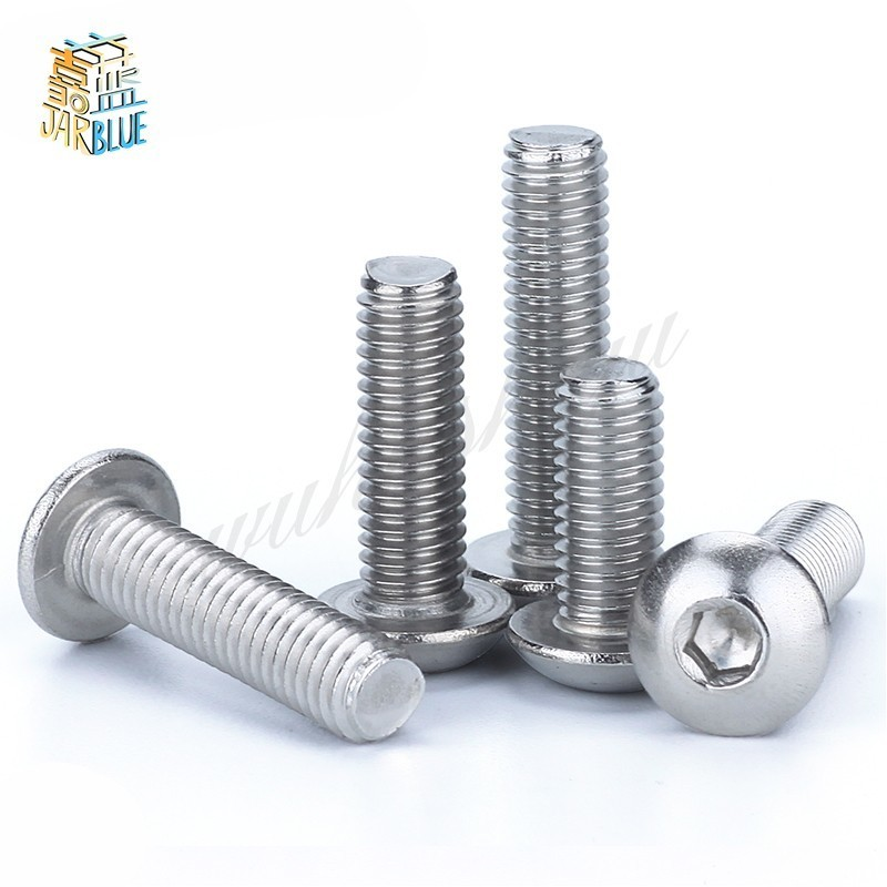 M6 Bolt A2-70 Button Head Socket Screw Bolt SUS304 Stainless Steel M6*(8/10/12/14/16/20/25/30/35/40/45/50/55/60~100) mm 100pcs m3 bolt a2 70 button head socket screw bolt sus304 stainless steel m3 4 5 6 8 10 12 14 16 18 20 22 25 30 35 40 45 50 mm