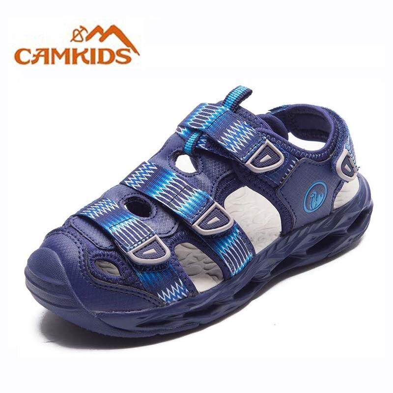 Camkids Boys Sandals Protect Toe Children Sports Beach Shoes Hook & Loop Non-Slip Protective Footware Children Summer Shoe New