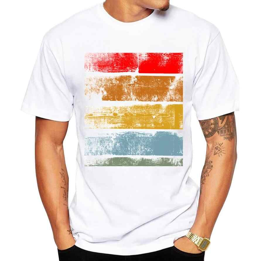 Sunmmer Fashion Retro Wood/ Record Printed Men T shirt Short Sleeve Casual t-shirt tee Hipster Fractal Pattern tees Cool Tops
