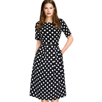 VfEmage Womens Elegant Vintage Spring Polka Dot Belted Tunic Pinup Wear To Work Office Casual Party