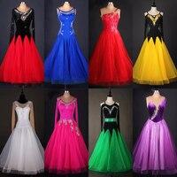 2017 neue Sexy Frauen Weibliche Salsa Flamenco Standard Gesellschaftstanz Wettbewerb Kleid Rock 8 Farben Organza Moderne Walzer Dancewear