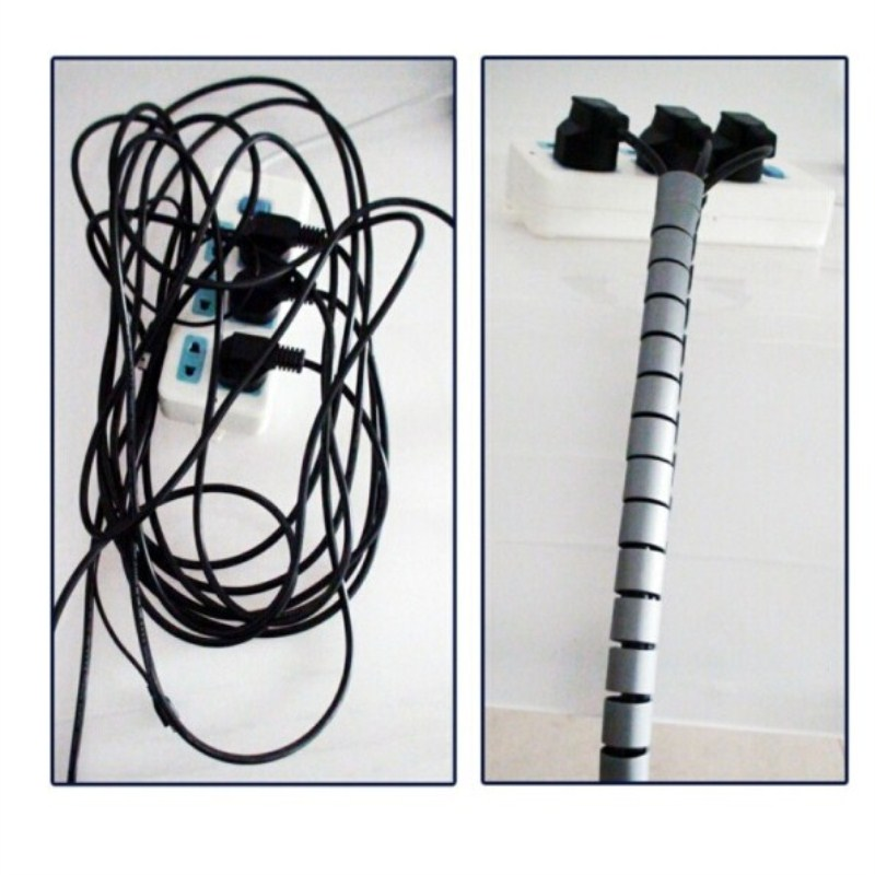 Image 2 - 3M 9FT Cable Wire Wrap Organizer Spiral Tube Cable Winder Cord Protector Split Loom Tubing Wire Conduit Hose Cover Flexible tube-in Cable Winder from Consumer Electronics