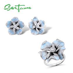 Santuzza Sieraden Set 925 Sterling Zilver Voor Vrouw Prachtige Blauwe Bloem Ring Oorbellen Mode Trendy Sieraden Set Handgemaakte Emaille