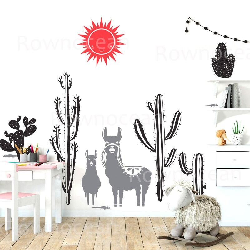 Sticker mural lama et Cactus décor de pépinière Cactus décor pour chambre d'enfants papier peint Art mural peintures murales F848